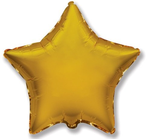 Foil balloon with helium Star Solid Gold 46 cm | Faraday Helium Balloons in Geneva