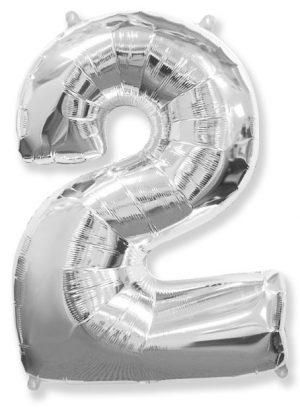 "Large foil balloon number ""2"""