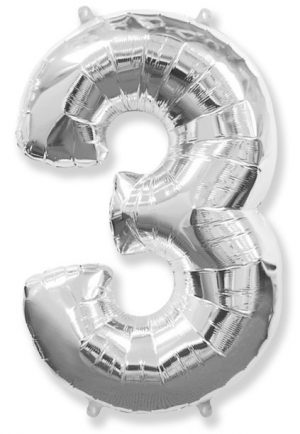 "Foil balloon Number ""3"" – 86 cm / Color selection"