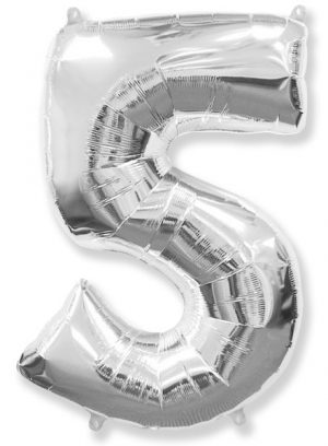 "Foil balloon Number ""5"" – 86 cm / Color selection"