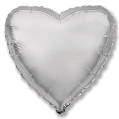 Foil balloon with helium Heart Solid Silver 46 cm | Faraday Helium Balloons in Geneva | Faraday Helium Balloons in Geneva