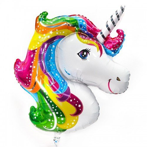 unicorn-shaped helium balloon with a multi-colored mane