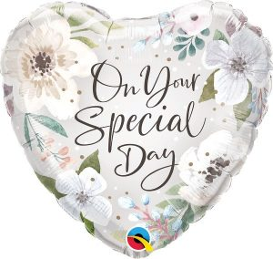 Ballon en aluminium avec hélium – Cœur – On your special day – 46 cm.