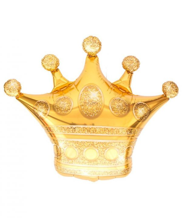 Helium balloon in the shape of a golden crown