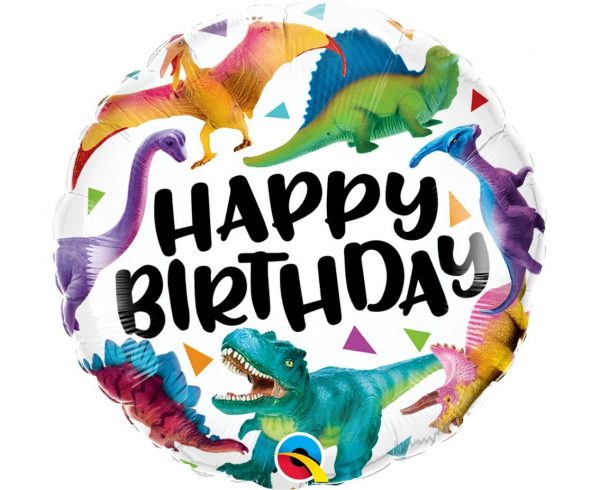 rounded foil balloon with Happy Birthday lettering and dinosaur images