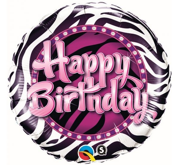 rounded foil balloon with Happy Birthday lettering in Zebra style