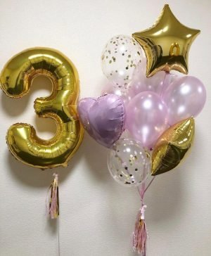 """Balloon composition with number """"Roubina"""""""