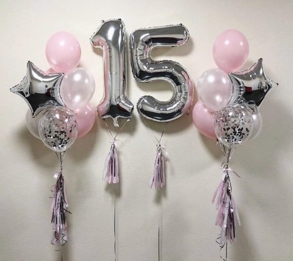 """Balloon set with 2 numbers """"Jacqueline"""""""