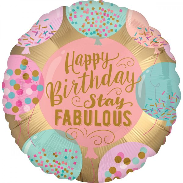 "Ballon d'aluminium rond avec l'inscription ""Fabulous Happy Birthday"""