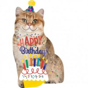 Happy Birthday Cat Helium Balloon