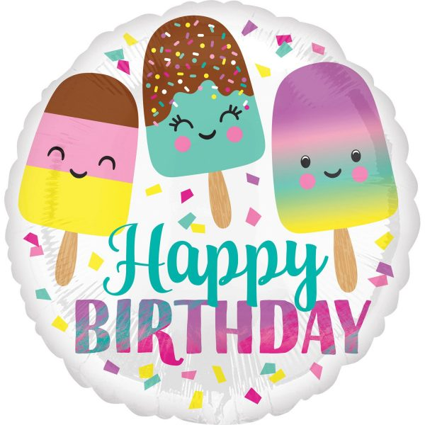 Rounded foil balloon with Ice Cream trio image and Happy Birthday text