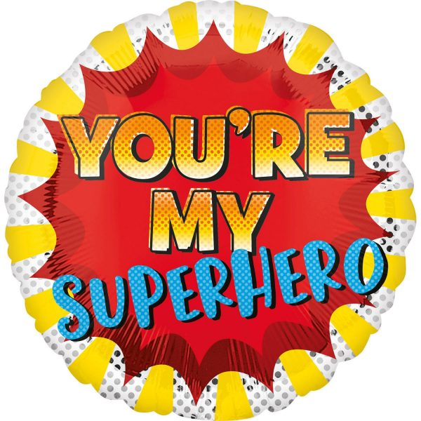 "Ballon d'aluminium rond avec l'inscription ""You're my Superhero"""