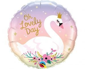 "Rounded Helium Balloon with Swan ""On Lovely Day"""