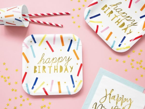"""Party Kit """"Colorful Birthday"""": straws, cups, napkins, plates 