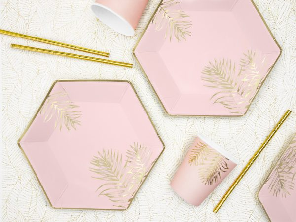 """Party Kit """"Pink Tropical"""": straws, cups, napkins, plates 