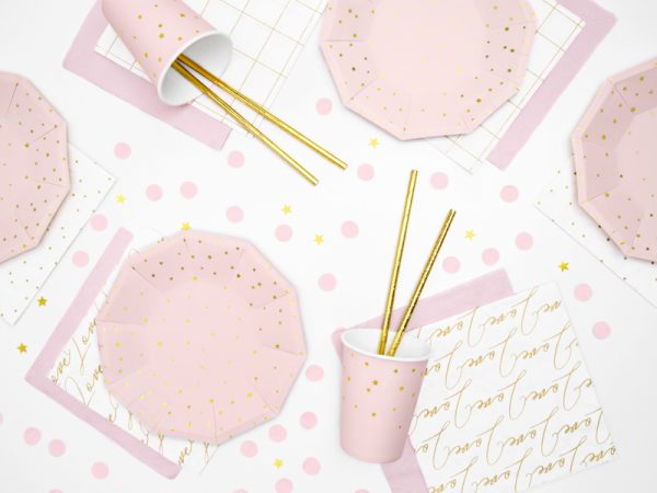 """Party Kit """"Stars & Pink"""": straws, cups, napkins, plates 