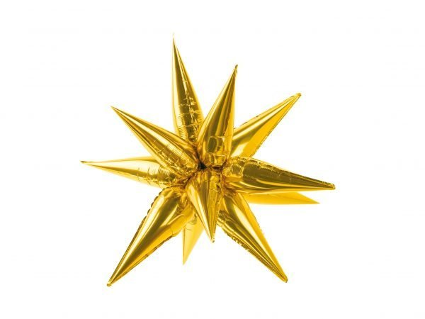 Helium Foil balloon shaped as 3D golden star 90cm | Faraday Helium Balloons in Geneva