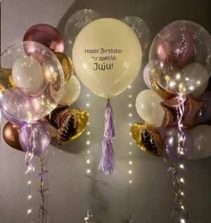 Personalized balloon arrangement with LED balloons «Nicole»